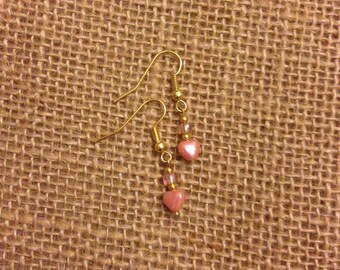 Drop Earrings - Pink Heart Charm - Gold Plated