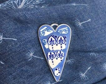 Ceramic Necklace, Blue China heart, Mosaic pendant, heart pendant, mosaic jewellery,