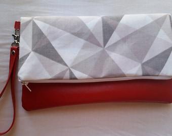 Geometric Gray Wristlet/Clutch Purse