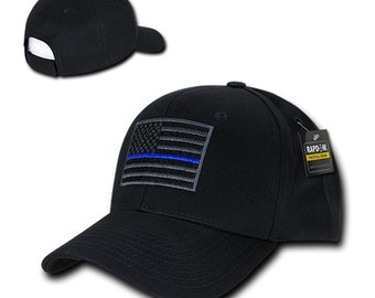 USA American Flag Embroidered 6 Panel Adjustable Operator Cap - Thin Blue Line (T76-TBL)