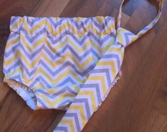 RTS in a size 12-24 Month Necktie, Diaper Cover Set Lemon/Gray Chevron Print Photography Prop, Dressy Baby Boy