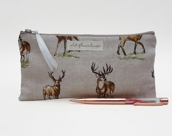 Deer Pencil Case, Stag Makeup Bag, Brush Holder, Zipper Pencil Pouch, Cosmetics Bag, Purse Organizer, Mini Make Up Bag, Old Flour House