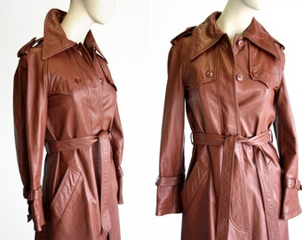 Vintage Leather Trench Coat / P.B.D. Originals / Woman's / XS / Retro / Lined / Brown / Jacket / Outerwear