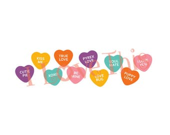 Valentine's Candy Hearts vinyl decal