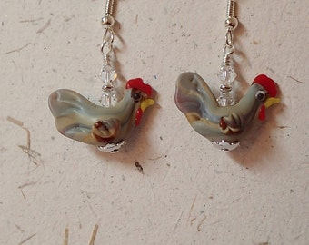 Tan Gray Brown Chicken Hen Rooster Glass Bead  Earrings with Swarovski and Silver    Now Laugh