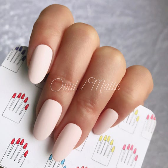 Oval Matte Baby Pink Hand Painted Nail Tips / Press On /