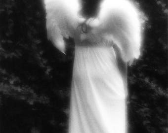 Black and White Angel Photograph, black and white photography, ethereal, art photography