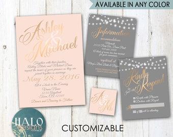 Blush and Grey Wedding Invitation,ANY COLOR,blush and grey,gold wedding,blush wedding invitation,wedding invitation,Romantic Wedding