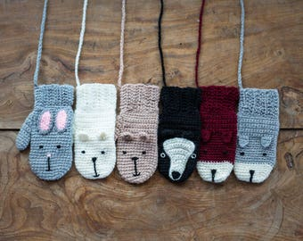 Animal Mittens With String Handmade Crochet For Children And Adults