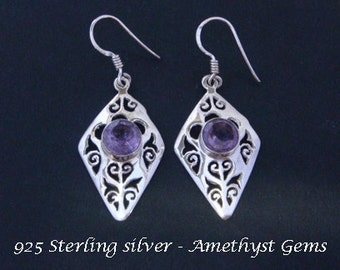 Silver Earrings 007: Sterling Silver Earrings with Brilliant Amethyst Gemstones in Ornately Crafted Stunning Drop Earrings | Silver Earrings