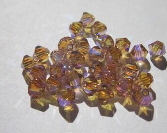 30 genuine swarovski 4mm Crystal bicones - coral pink AB2X (19)