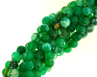 Green Faceted Fire Agate, Faceted Agate Beads, Green Beads.
