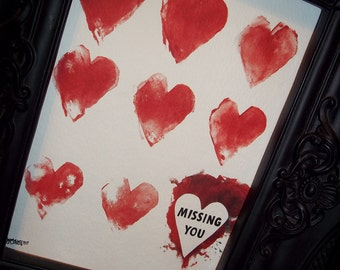 Missing You Stamped Paint Romantic Print Love 5x7 Art by Agorables Undead Valentine's Day