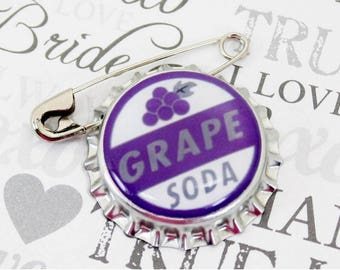 Ellie Badge Grape Soda PIN - DP  - Personalized - Wilderness Explorer - Wedding Groom Gift