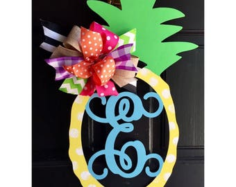 Pineapple  custom Letter - Interlocking Vine Font - (you choose letter) DIY/ Unpainted/ Door Hanger/ unfinished