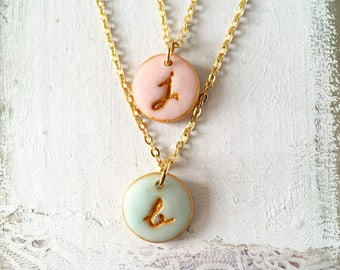 Dainty Script Initial Necklace, Color Letter Charm, Gold, Bridesmaids Gift, Romantic, Delicate Necklace or Bracelet, Calligraphy, layered