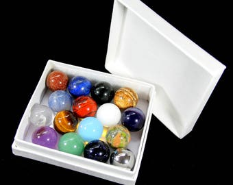 Gemstone, Mineral & Metal Marbles - 16 x 16mm Collectors Toy Glass Marble Set - Beautiful Art Jewellery Pendant Stones