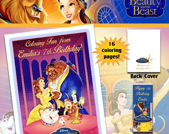 Belle Beauty and the Beast Coloring Book with Crayons/Birthday Party Favor/Personalized Favors