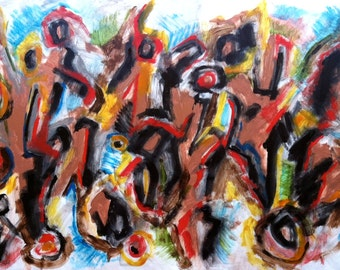 """Random Five, Original Abstract Painting on panel, 18""""x36"""" expressionist modern art"""