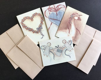 Vintage Tiny gift cards, by Artist Karen Armstrong, set of 4