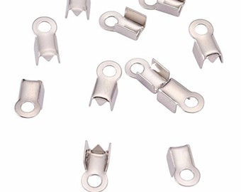 500pc Silver Fold Over Glue Crimp End Pieces - Leather, Chain Cups With Loop- 3mm- 3.2mm