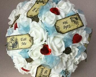 Alice in Wonderland Wedding Bouquet, White Rose bouquet,  Bride's white bouquet, Queen of Hearts wedding, Clocks, Lewis Carroll Story Theme
