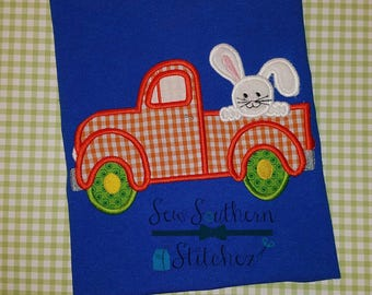Old Truck with Bunny on Back Applique Design ~ Easter Bunny ~ Instant Download
