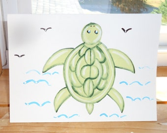 Hand painted card, TURTLE card, painted card, greeting cards, note cards, beach cards, blank cards, free shipping