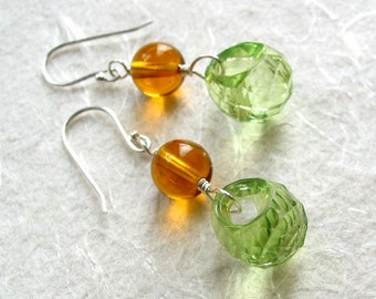 Green and Amber Grape Earrings