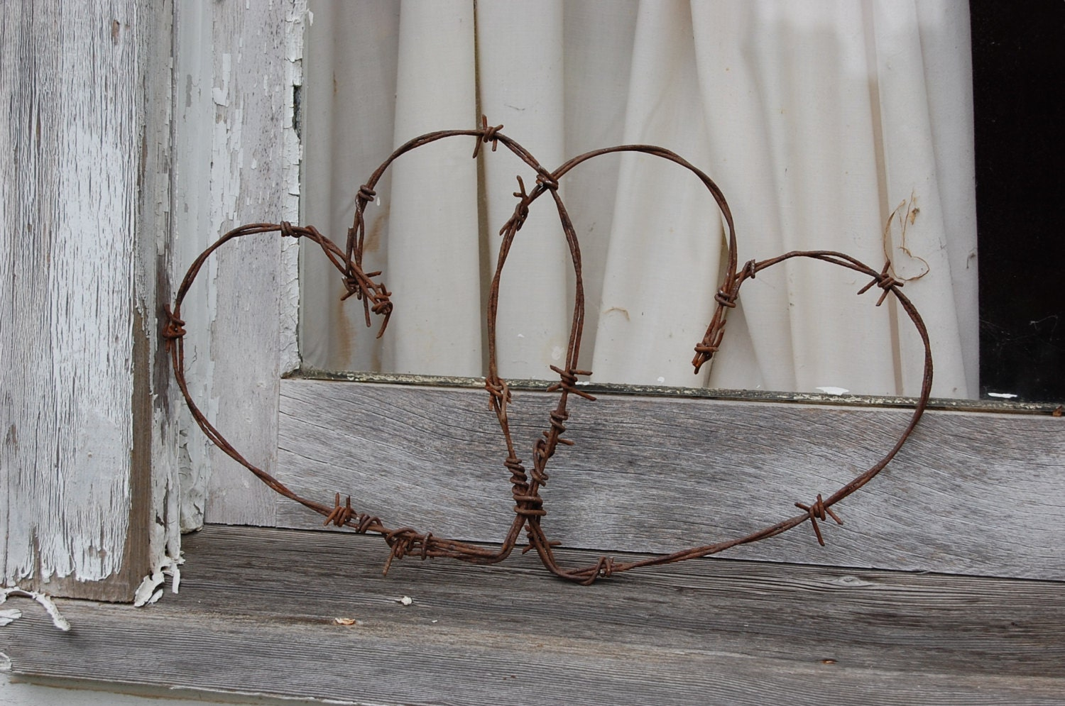 Entwined Barbed Wire Hearts Wedding Hearts Rustic Home