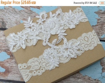ON SALE Wedding Garter Set- Bridal Garter Set - Keepsake Garter- Ivory Lace Garter- Garter- Wedding Garter- Bridal Garter Set- Wedding