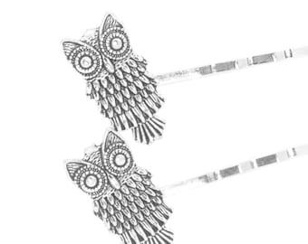 Owl Hair Pins On Silver Bobby Pins