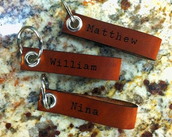 Personalized Leather keychain for Bridesmaids and Groomsmen