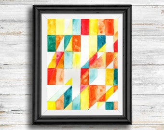 Geometric Watercolor Design - Digital Download