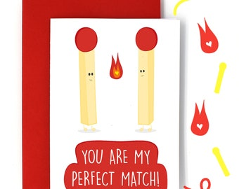 You Are My Perfect Match! Illustration Greetings Card (Love/Partner/Marriage/Anniversary/Engagement/Boyfriend/Girlfriend/Valentines)