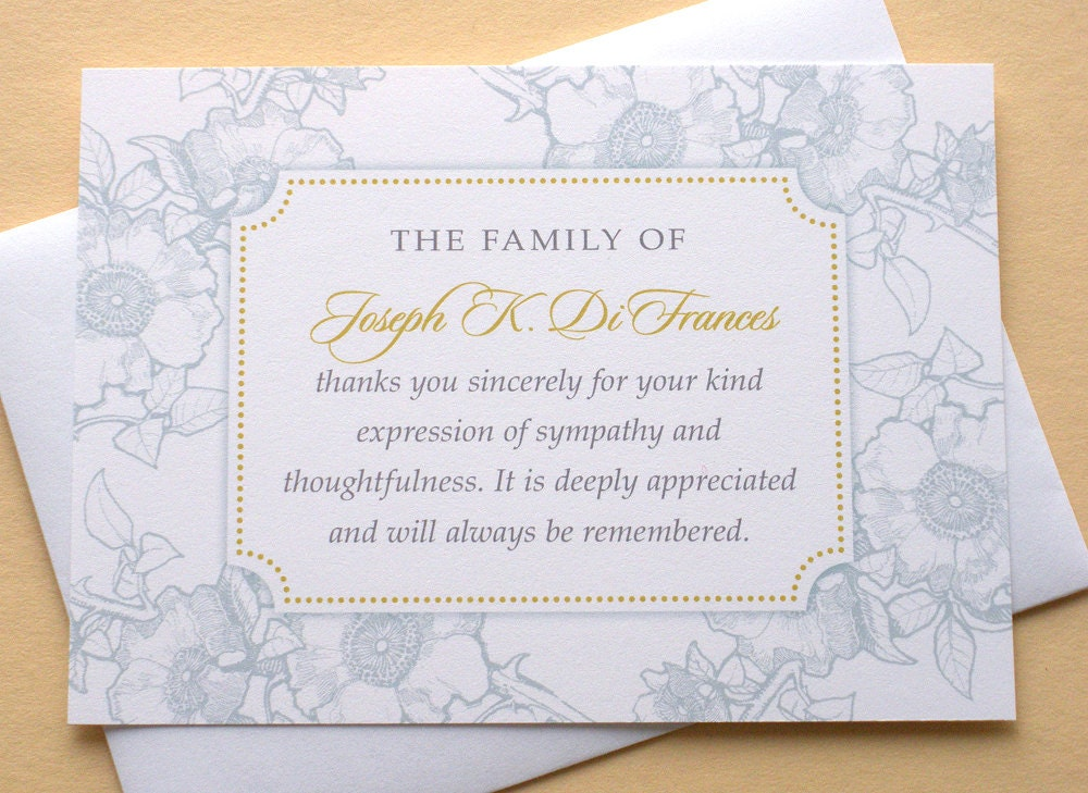 Funeral Thank You Cards With Blue Or Dusty Rose Flowers