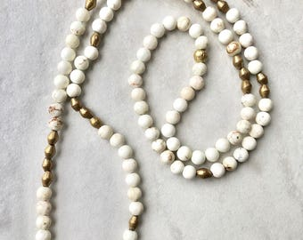 Long Beaded Necklace / White Howlite Gemstones / White and Gold Beaded Necklace / Boho Jewelry / Womens Statement Necklace / Handmade
