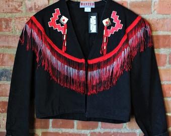 Vintage Western Fringe Women's Black Denim Jacket Medium