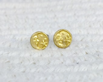 Crescent moon with stars brass stud earrings