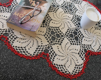 Cream and Red Crochet Flower Doily - Coloured Doily - Crochet Lace Decoration - Table Dressing - Crochet Home Decor - Crochet Craft Supplies