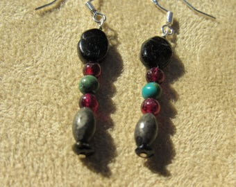 Protection, Healing Stone Earrings, Garnet, Black Tourmaline, Pyrite, Turquoise Protection Stones, Sterling Silver Gemstone Synergy Earrings