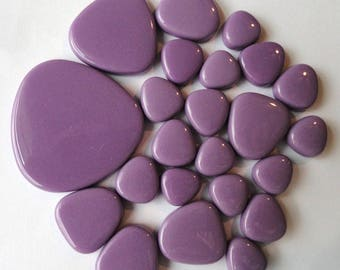 Amethyst Purple Turkish Glass Pebble Mosaic Tiles//Oval Shaped Tiles//Mosaic Supplies//Crafts//Mosaic