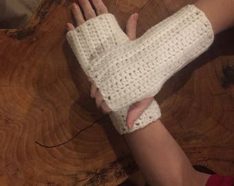 WHITE FINGERLESS GLOVES Crocheted Texting Gloves Handmade Arm Warmers