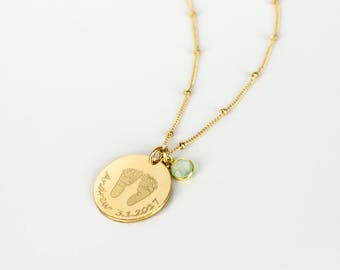 Child Footprints Necklace with Birthstone, Actual Baby Footprints Necklace, Kids Name necklace, Personalized Gift for Mother Jewelry 19mm