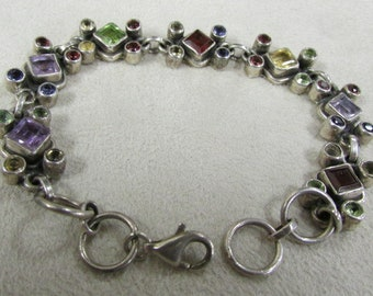 Sterling Silver Link Bracelet with Faceted Stones