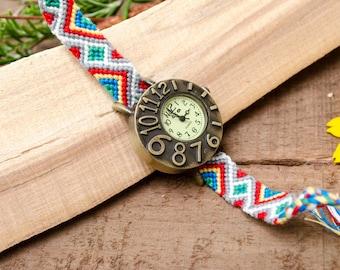 SMALL Zig Zag Rainbow Friendship Bracelet Watch