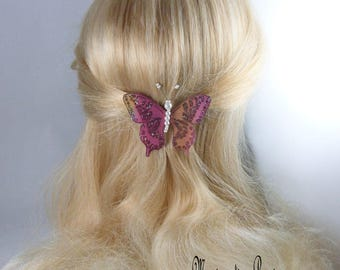 """hair French Butterfly silk Burgundy, Brown, white pearls """"Kahoni"""" ombre body, evening, ceremony, made in France"""