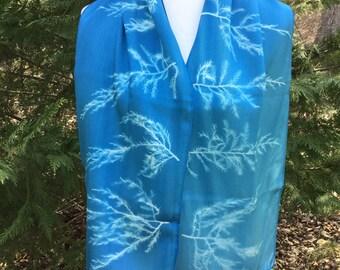 Blue Silk Scarf, Cyanotype Scarf, Tree Print, Botanical Print Scarf, Light Blue Scarf, Graphic Print Scarf, Art Silk Scarf, Modern Silk Art