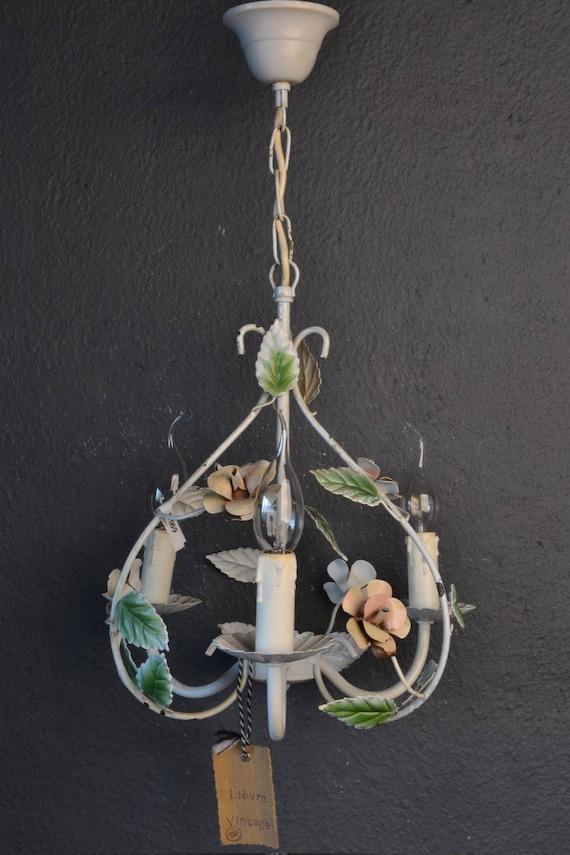 Painted toleware flower chandelier.