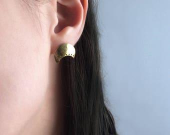 Crescent Moon Shield Earrings, Brass, Sterling Silver